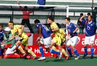 UP Wizards trying to hit a goal against Ranchi Rhinos at lucknow