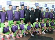 Delhi Waveriders Team Players posing for media at Dhyan Chand National Stadium