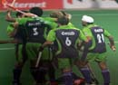 Delhi Waveriders celebrating after hitting a goal against Mumbai Magicians at Delhi on 16 jan 2013